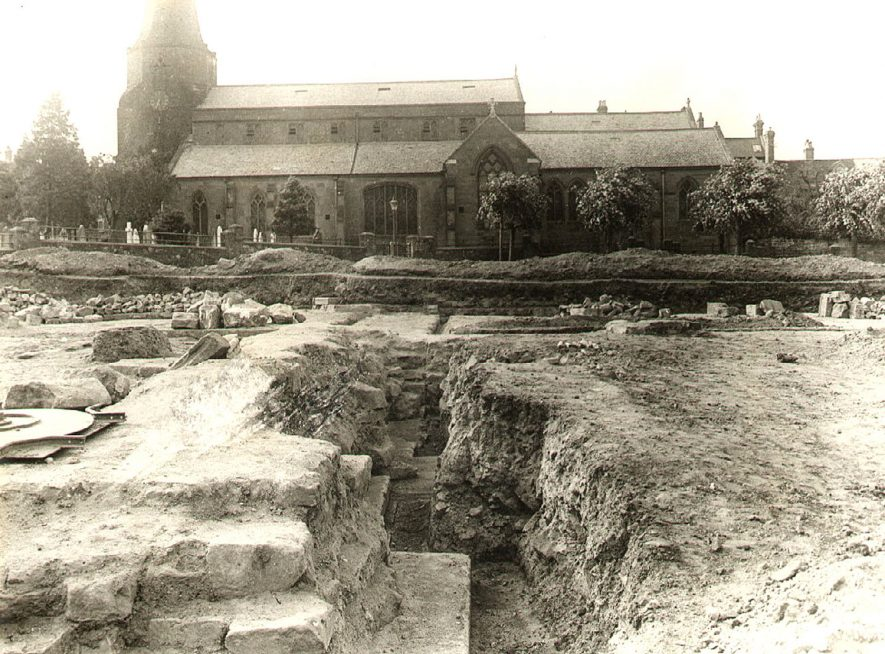 St Nicholas church and excavation area of the old abbey, Kenilworth.  1891 |  IMAGE LOCATION: (Warwickshire County Record Office)