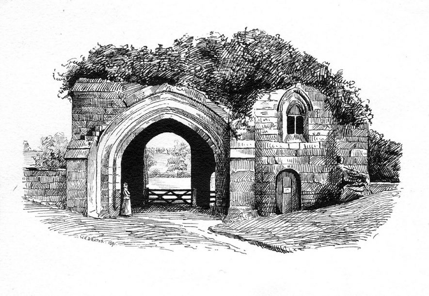 The north side of the Tan-tarra or gatehouse at Kenilworth Abbey.  1891 |  IMAGE LOCATION: (Warwickshire County Record Office)