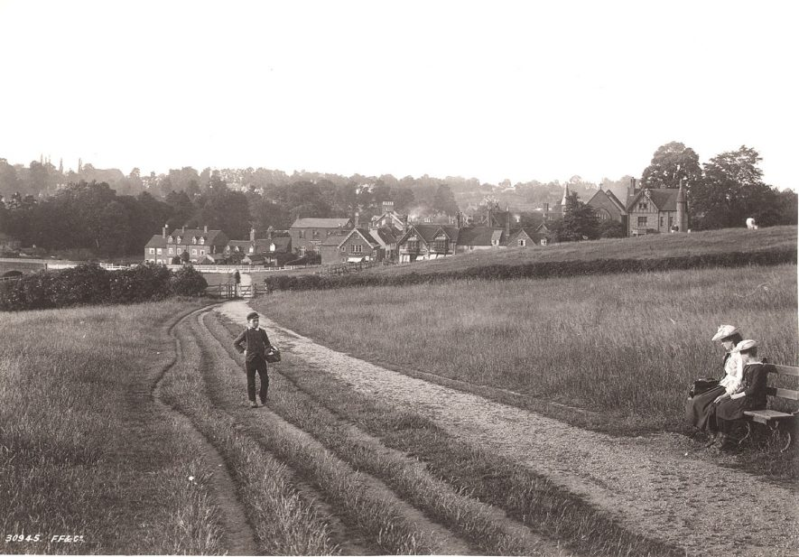 Abbey Fields, Kenilworth, looking NE. Bridge Street and Rosemary Hill are seen in the background.  1892