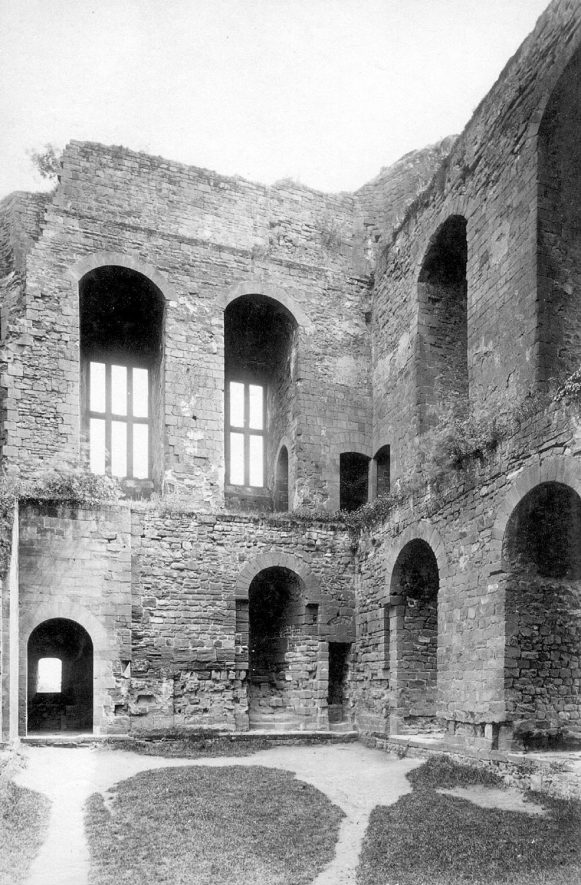 Kenilworth Castle interior, showing Caesar's Tower S & E walls.  1890s. |  IMAGE LOCATION: (Warwickshire County Record Office)
