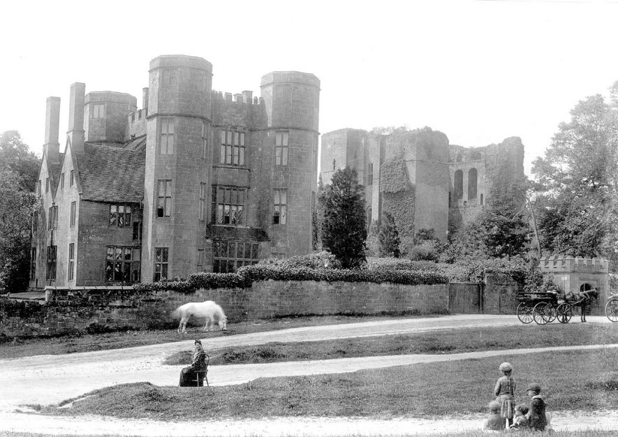 Kenilworth Castle gatehouse from the north east. Figures of woman and children and a white horse grazing.  1892 |  IMAGE LOCATION: (Warwickshire County Record Office)