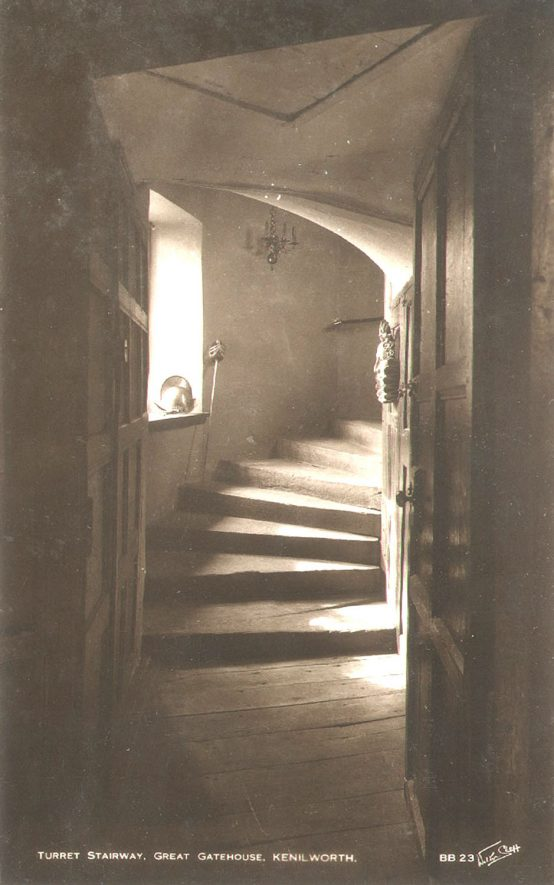 The Turret stairway in the Great Gatehouse at Kenilworth Castle.  1930s |  IMAGE LOCATION: (Warwickshire County Record Office)