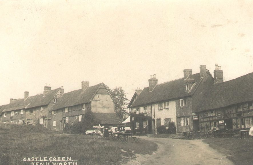 Cottages and The Cosy Cafe, Castle Green, Kenilworth.  1920s |  IMAGE LOCATION: (Warwickshire County Record Office)