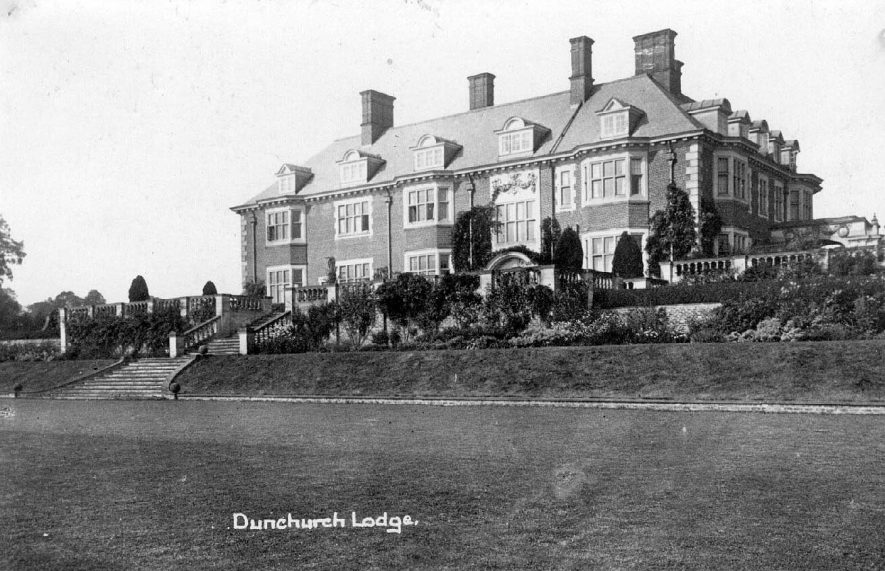 Dunchurch Lodge, a large country house set in formal gardens.  1900s |  IMAGE LOCATION: (Warwickshire County Record Office)
