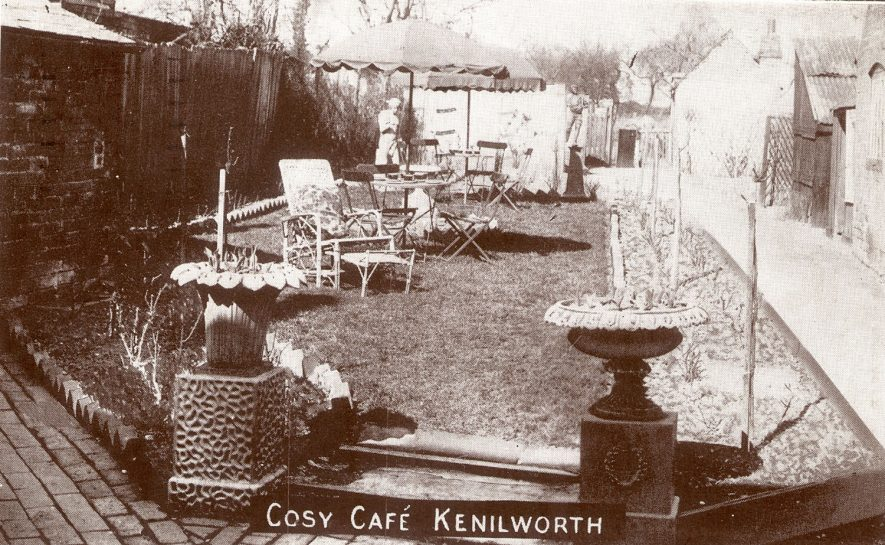The rear garden of The Cosy Cafe, Castle Green, Kenilworth.  1930s |  IMAGE LOCATION: (Warwickshire County Record Office)
