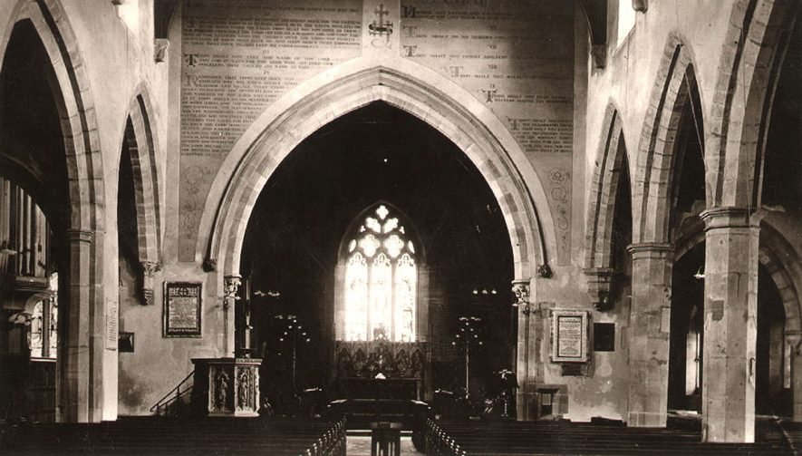 The interior of St Nicholas church, looking east.  1910s    IMAGE LOCATION: (Warwickshire County Record Office)