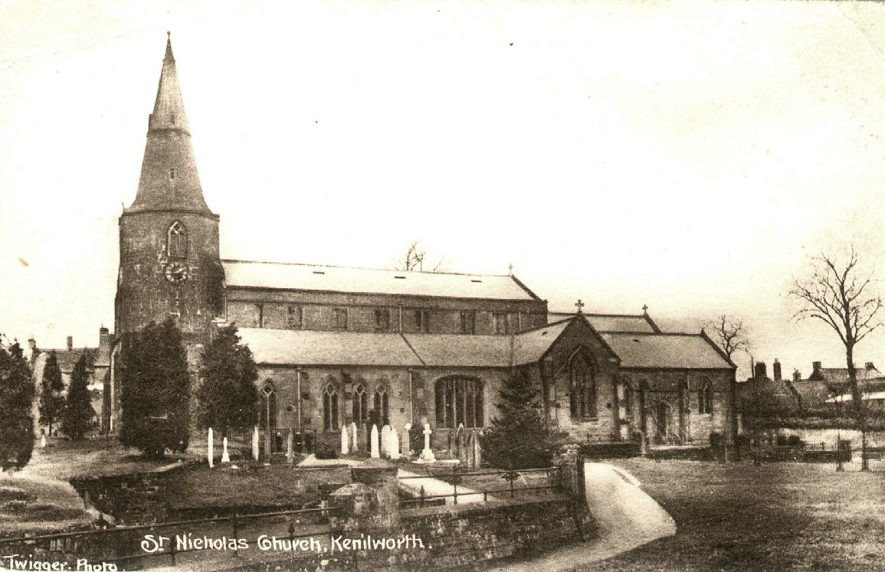 Exterior of St Nicholas church, and churchyard, Kenilworth.  1910s |  IMAGE LOCATION: (Warwickshire County Record Office)
