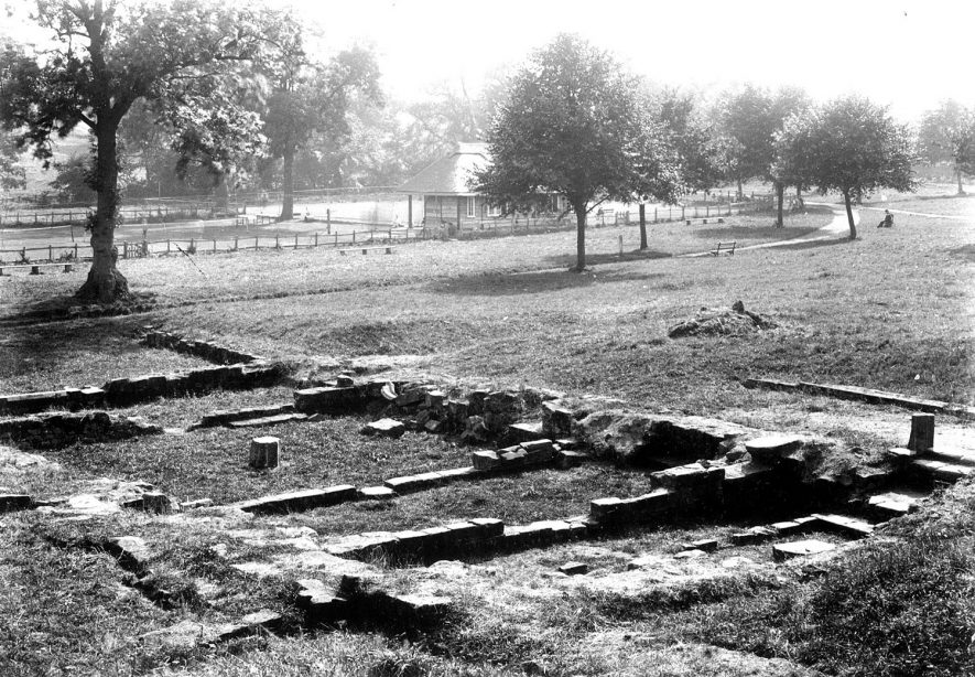 Foundations of St Mary's Abbey, Kenilworth.  1920s |  IMAGE LOCATION: (Warwickshire County Record Office)