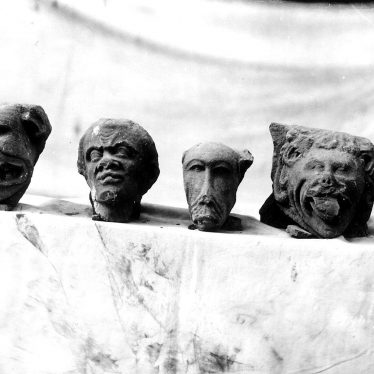 Kenilworth.  Carved heads from St Mary's Abbey