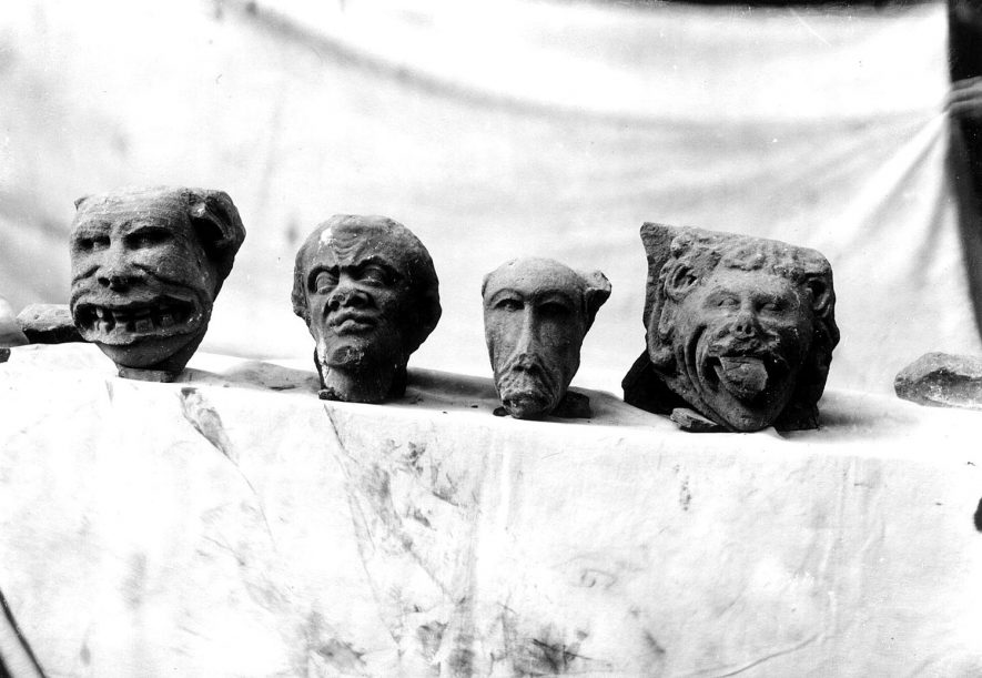 Carved heads from St Mary's Abbey excavation, Kenilworth.  1920s |  IMAGE LOCATION: (Warwickshire County Record Office)