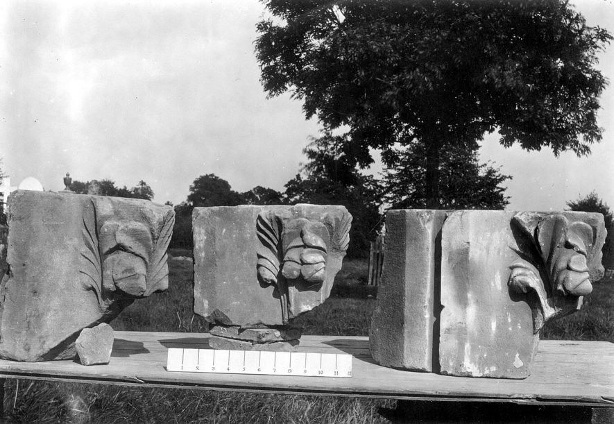 Carved masonry from St Mary's Abbey excavation, Kenilworth.  1920s |  IMAGE LOCATION: (Warwickshire County Record Office)