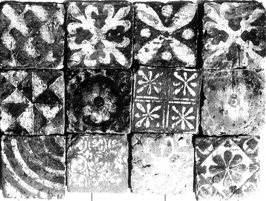 Floor tiles from St Mary's Abbey excavation, Kenilworth.  1920s |  IMAGE LOCATION: (Warwickshire County Record Office)