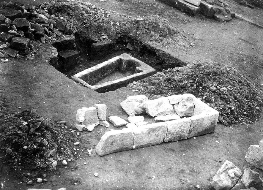 Stone coffin from St Mary's Abbey excavation, Kenilworth.  1920s |  IMAGE LOCATION: (Warwickshire County Record Office)