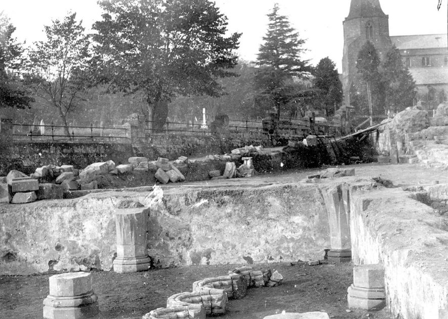 Excavated foundations at St Mary's Abbey, Kenilworth.  1920s |  IMAGE LOCATION: (Warwickshire County Record Office)