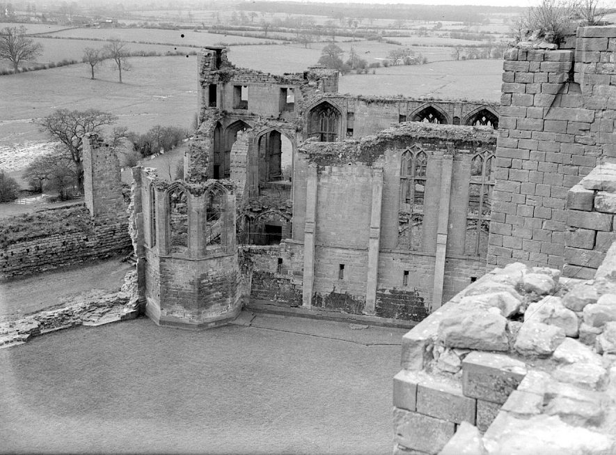 Kenilworth Castle ruins as seen from the clock tower.  March 6th 1939 |  IMAGE LOCATION: (Warwickshire County Record Office)