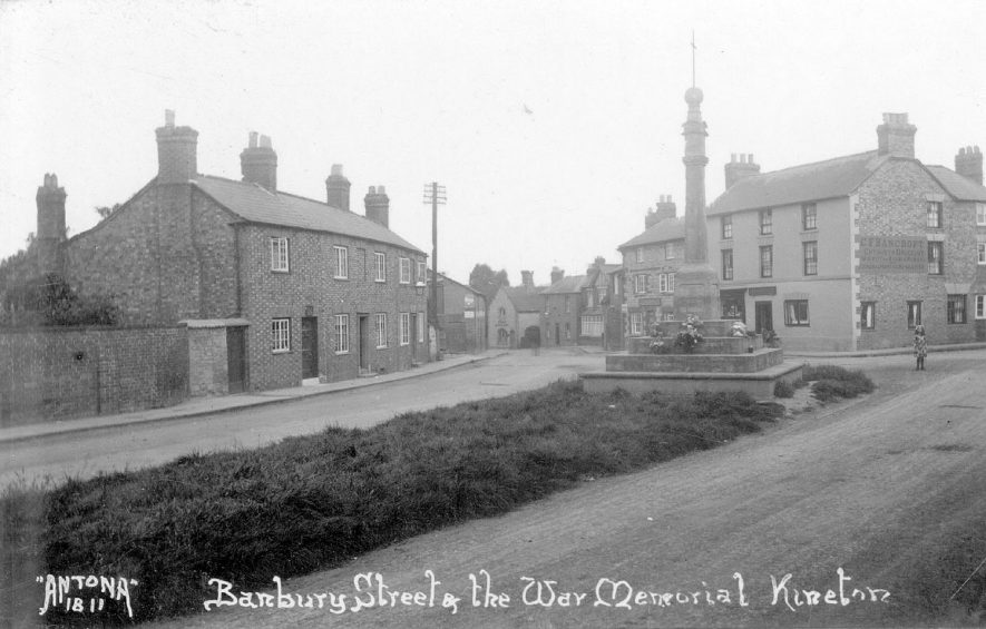 Banbury Street, War Memorial and terrace houses, Kineton.  1920s |  IMAGE LOCATION: (Warwickshire County Record Office)