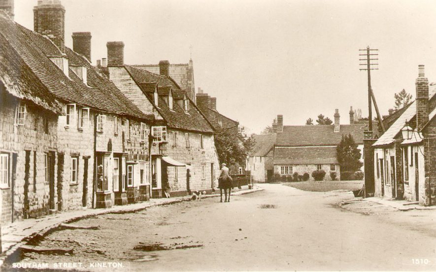 Southam Street, Kineton, showing cottages.  Man riding horse.  1910s |  IMAGE LOCATION: (Warwickshire County Record Office)