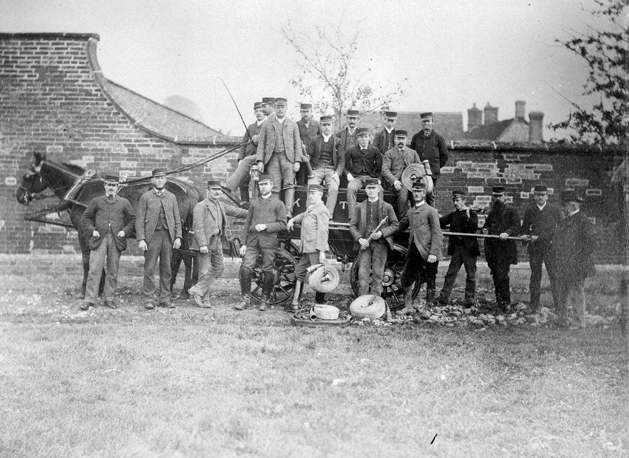 Kineton Fire Brigade: men & horse-drawn wagon. Copied from original negative 1955. |  IMAGE LOCATION: (Warwickshire County Record Office)