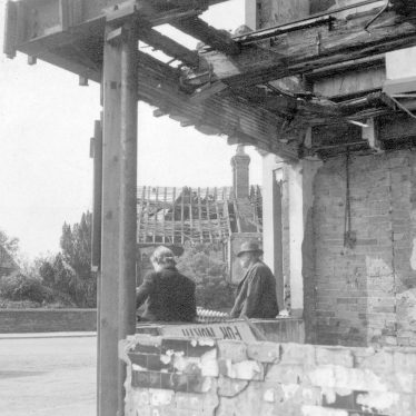 Kenilworth.  Bomb damage in The Square