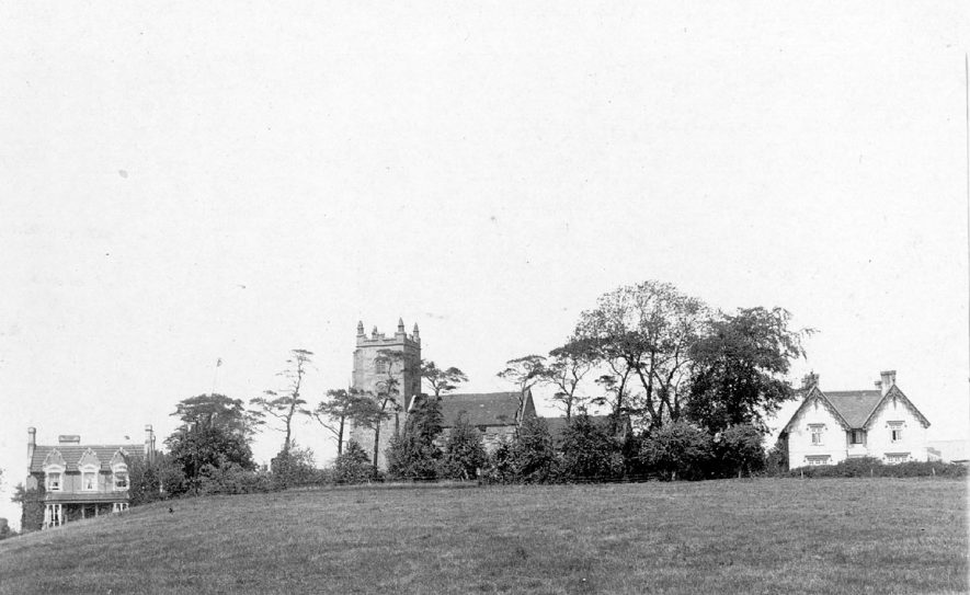 SS. Peter and Paul church and adjacent houses, Kingsbury.  1950s |  IMAGE LOCATION: (Warwickshire County Record Office)