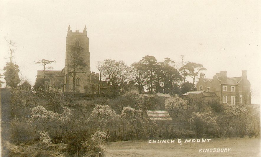 SS. Peter & Paul church and mount, Kingsbury.  1900s |  IMAGE LOCATION: (Warwickshire County Record Office)