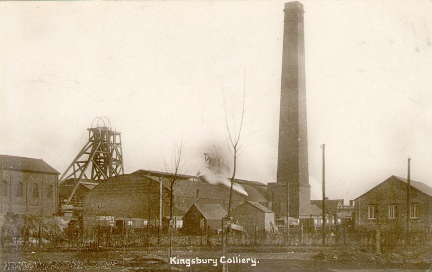 Kingsbury colliery buildings and chimney.  1910s |  IMAGE LOCATION: (Warwickshire County Record Office)