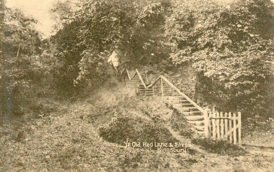 Ye Old Red Lane and steps, Kingsbury.  1910s |  IMAGE LOCATION: (Warwickshire County Record Office)