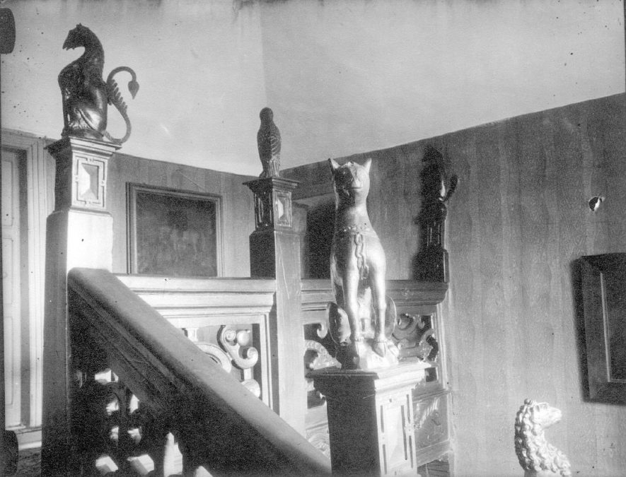 Staircase in Holt Hall, Kingsbury.  1935 |  IMAGE LOCATION: (Warwickshire County Record Office)