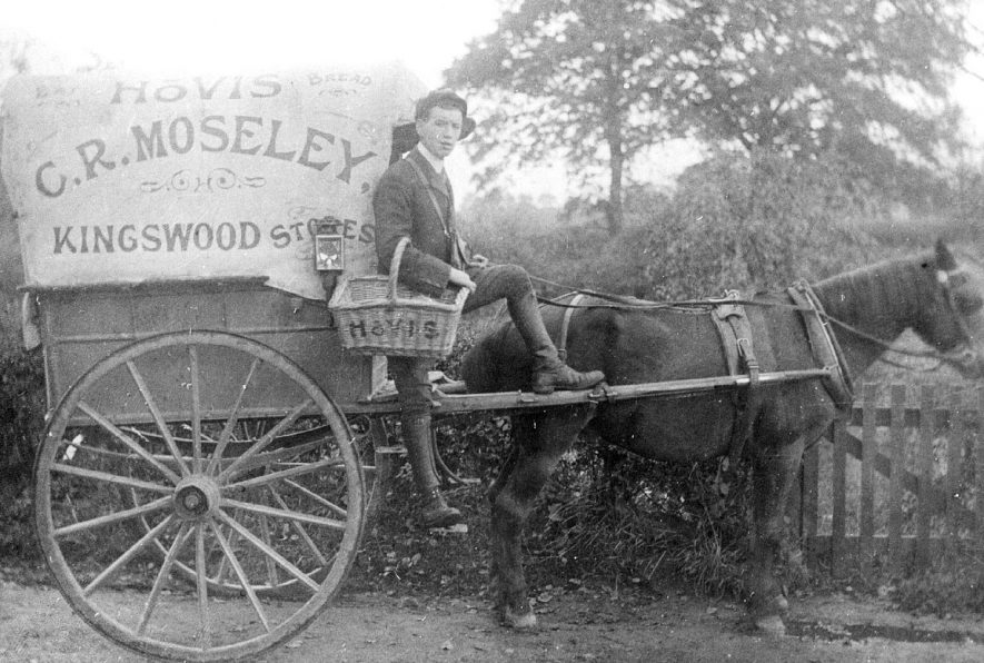 Delivery cart of C.R. Moseley, baker with attendant, Kingswood.  1905 |  IMAGE LOCATION: (Warwickshire County Record Office)