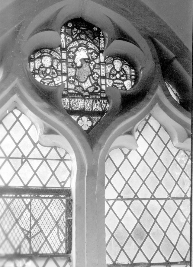 Kinwarton Church.  Stained glass in the south west window of the chancel.  1938 |  IMAGE LOCATION: (Warwickshire County Record Office)