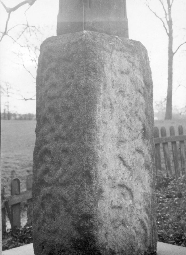 Kinwarton Churchyard.  The carved stone base of an old cross.  1938 |  IMAGE LOCATION: (Warwickshire County Record Office)