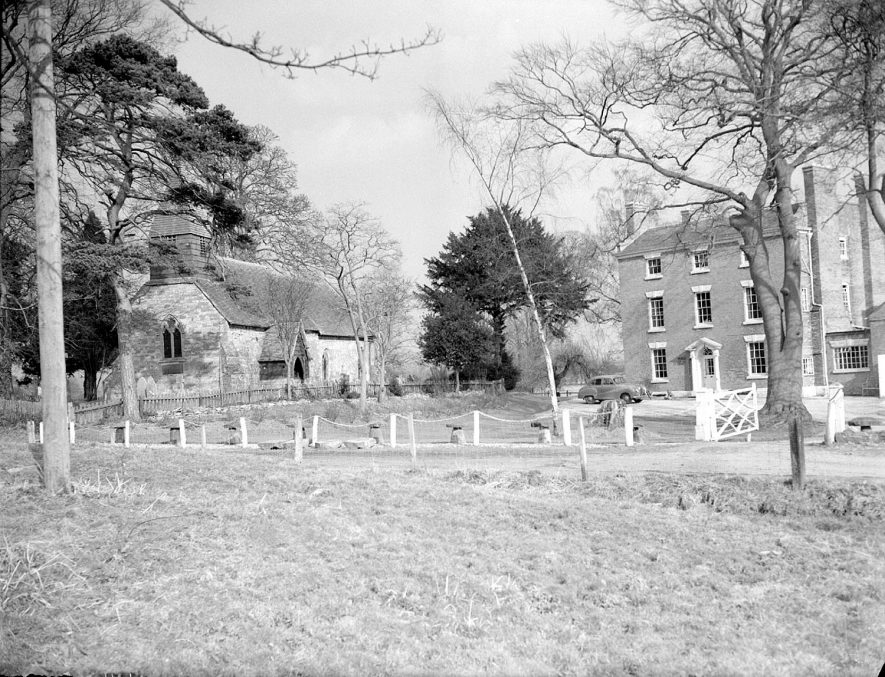 Kinwarton Church and probably Glebe Farm.  1955 |  IMAGE LOCATION: (Warwickshire County Record Office)
