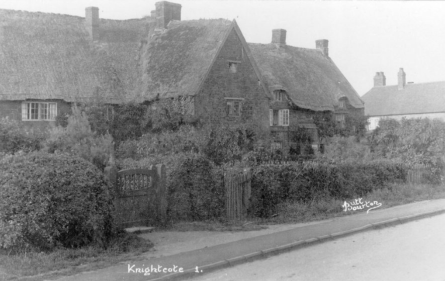Thatched cottages, Knightcote.  1920s |  IMAGE LOCATION: (Warwickshire County Record Office)