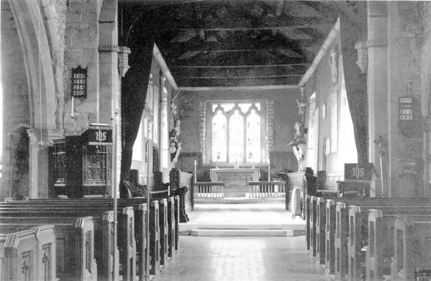 All Saints Church interior looking east, Leamington Hastings.  1930s |  IMAGE LOCATION: (Warwickshire County Record Office)