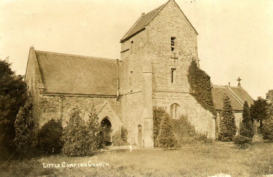 Exterior of St Denys church, Little Compton.  1900s |  IMAGE LOCATION: (Warwickshire County Record Office)