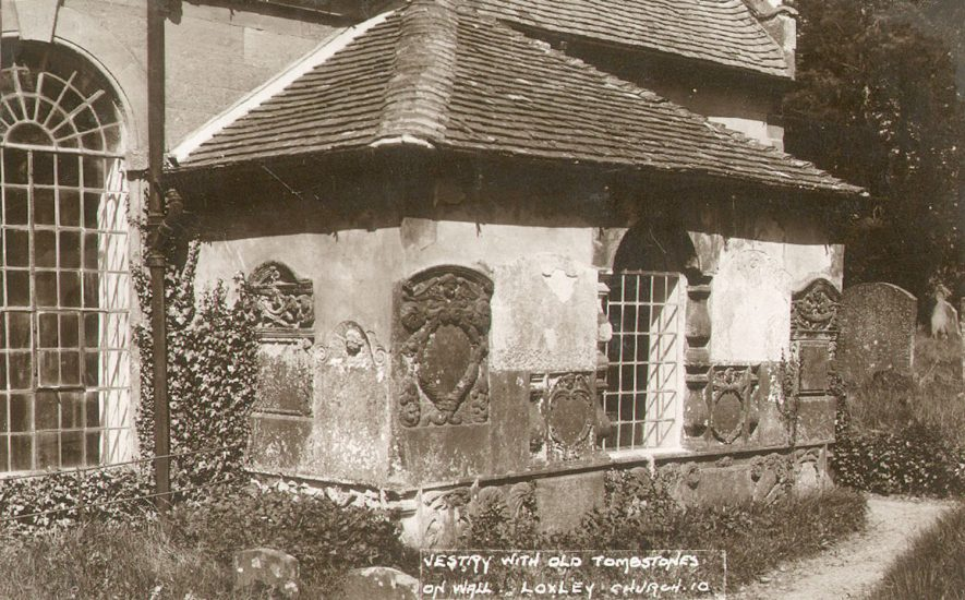 St Nicholas church vestry with old tombstones on the wall, Loxley.  1920s |  IMAGE LOCATION: (Warwickshire County Record Office)