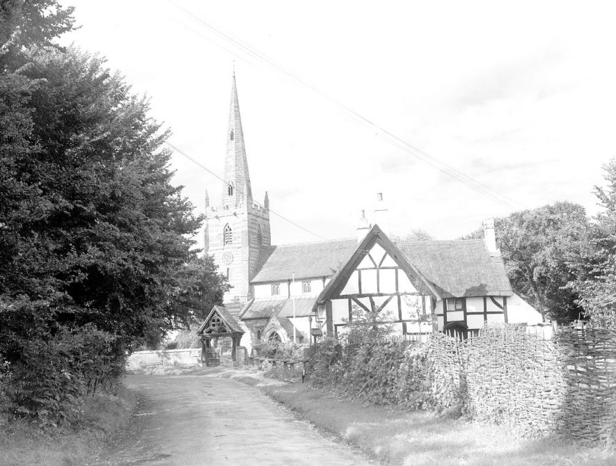 All Saints church and cottage, Ladbroke.  September 20th 1950 |  IMAGE LOCATION: (Warwickshire County Record Office)