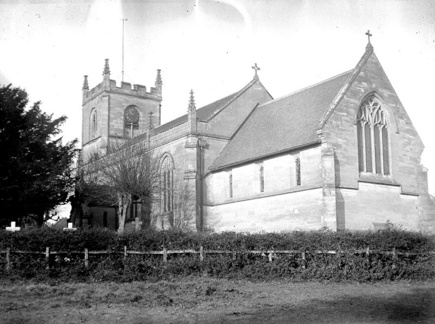 Exterior of All Saints church, Leek Wootton.  1926 |  IMAGE LOCATION: (Warwickshire County Record Office)