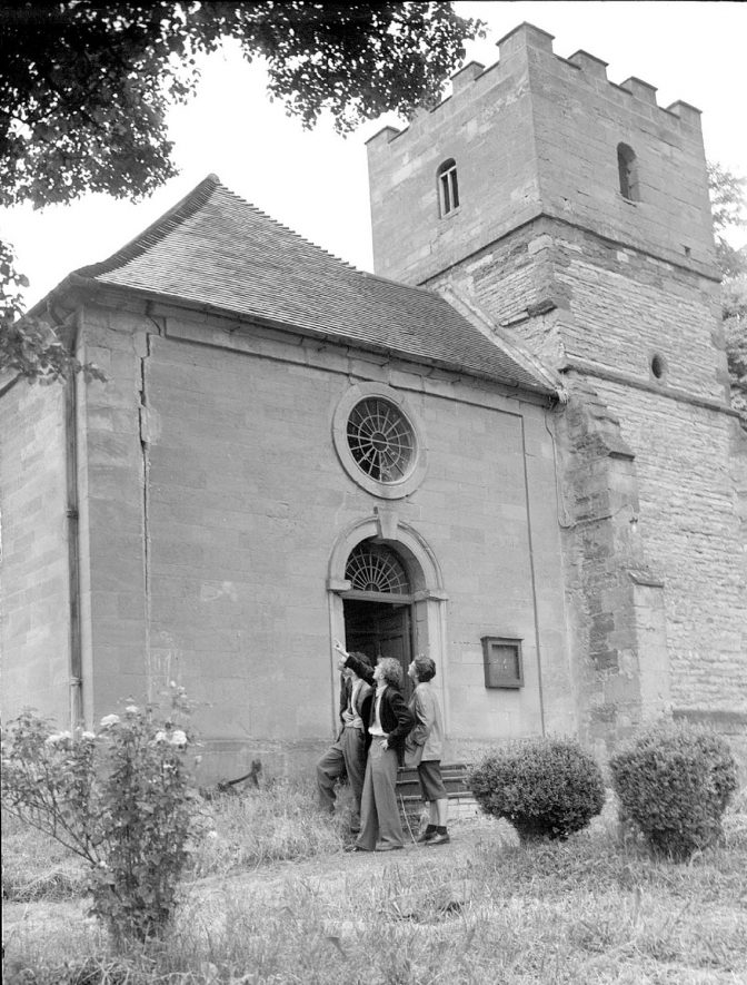 Exterior of St Nicholas's church, Loxley.  May 31st 1952 |  IMAGE LOCATION: (Warwickshire County Record Office)