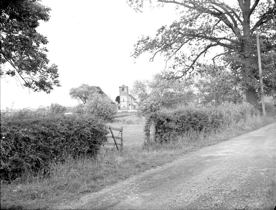 View looking across the fields towards St Esprit's church, Marton.  July 13th 1957 |  IMAGE LOCATION: (Warwickshire County Record Office)