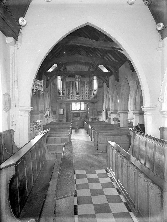 Church of St Mary Magdalene, looking west from the chancel into the nave, Lillington.  1959 |  IMAGE LOCATION: (Warwickshire County Record Office)