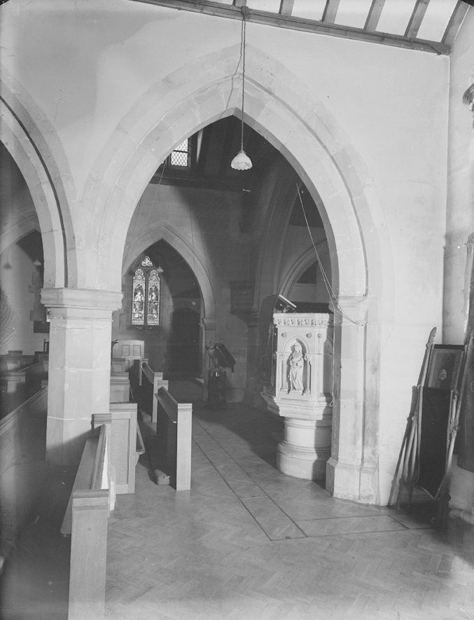 Church of St Mary Magdalene, an interior view looking towards the pulpit, Lillington.  1959 |  IMAGE LOCATION: (Warwickshire County Record Office)
