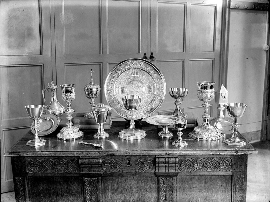 Display of church plate at the church of St Mary Magdalene, Lillington.  1959 |  IMAGE LOCATION: (Warwickshire County Record Office)