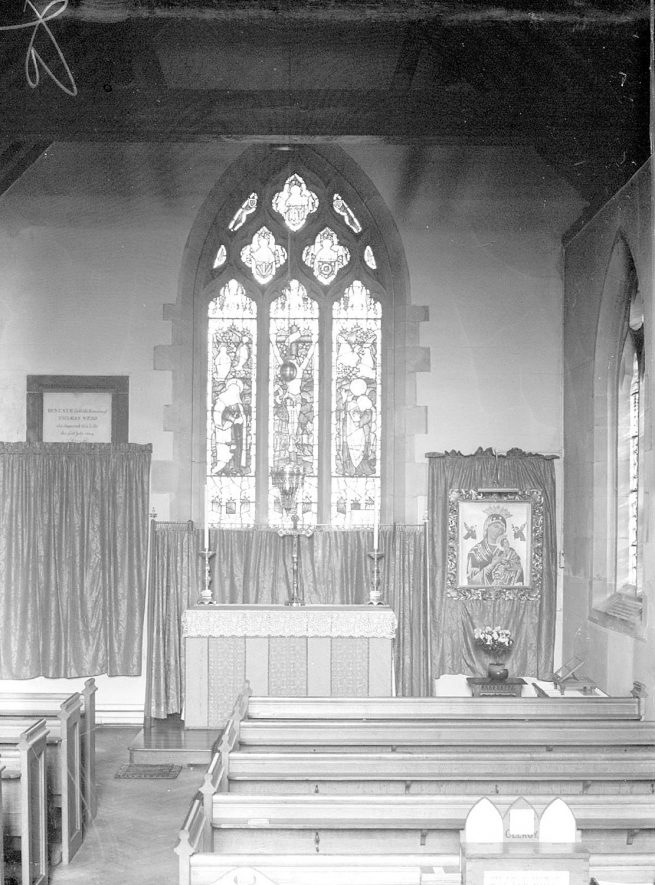 Altar and east window at the church of St Mary Magdalene, Lillington.  1959 |  IMAGE LOCATION: (Warwickshire County Record Office)