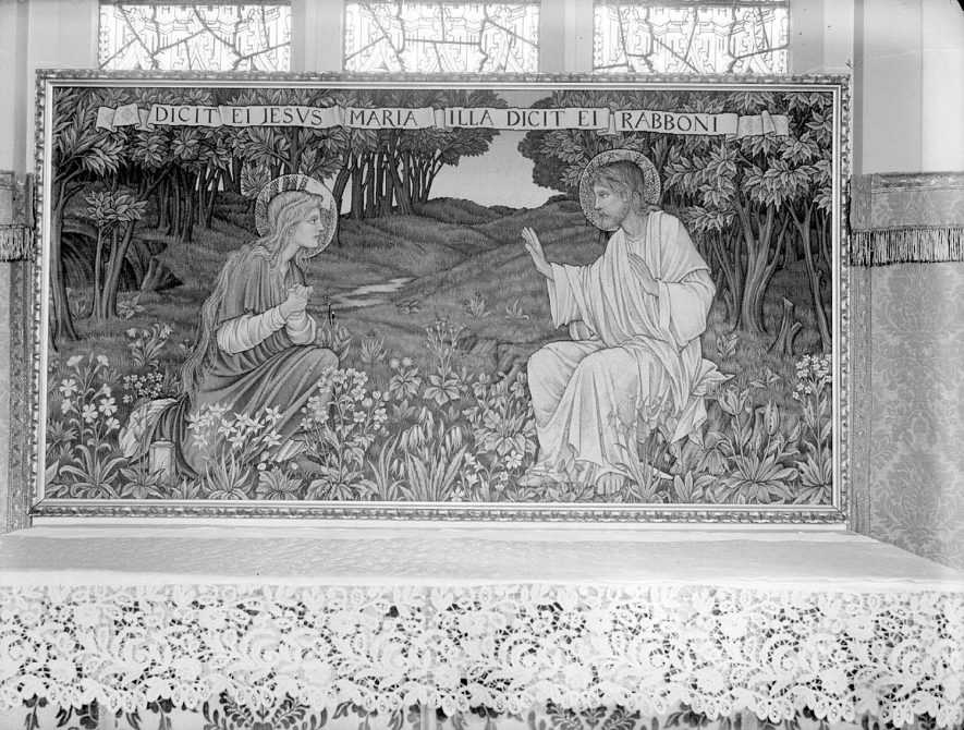 Altar tapestry at Lillington church.  14 March 1959