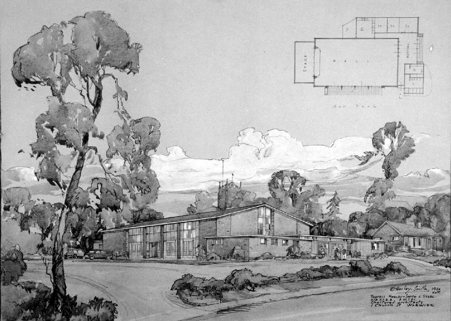 Drawing of proposed church centre, Lillington.  1960 |  IMAGE LOCATION: (Warwickshire County Record Office)