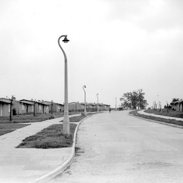 Lillington.  Prefab housing and new street lighting