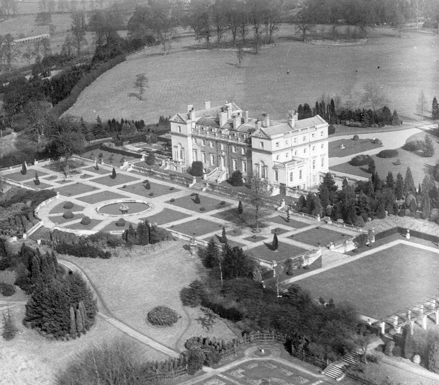 An aerial view of  Moreton Hall, Moreton Morrell.  1930 |  IMAGE LOCATION: (Warwickshire County Record Office)