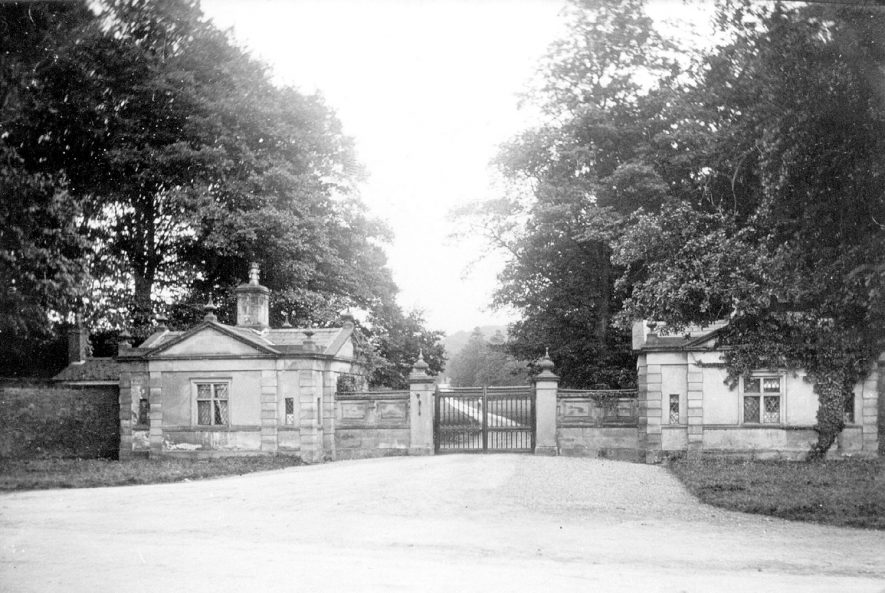 Lodges and gates to Merevale Hall, Merevale, at the entrance from the A5 road.  1900s |  IMAGE LOCATION: (Warwickshire County Record Office)