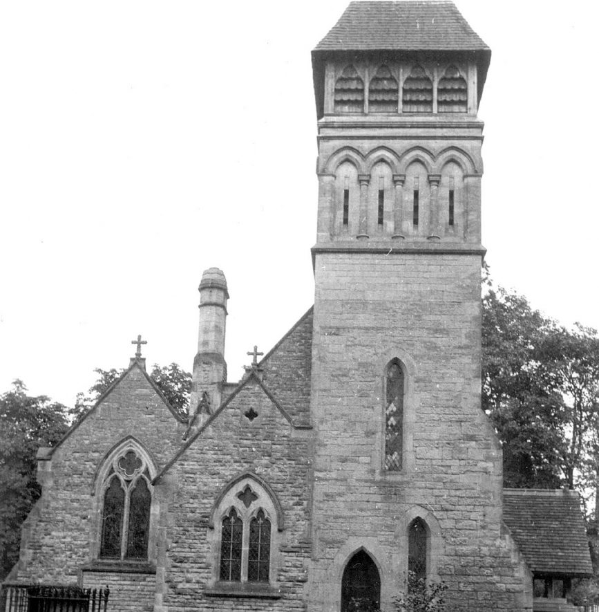 The tower and exterior of St James church, Old Milverton.  1950s |  IMAGE LOCATION: (Warwickshire County Record Office)